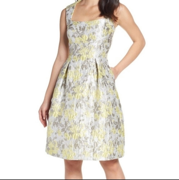 Eliza J Dresses & Skirts - Eliza J | Fit flare yellow silver jacquard dress 4